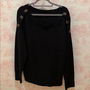 Sweaters - Black open neck sweater